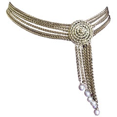 Yves Saint Laurent Vintage 70's Gold Chain Belt / Necklace with Pearl Tassel