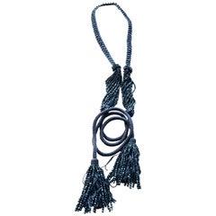 Yves Saint Laurent Vintage 70's Hematite Bead Tassel Cord Belt