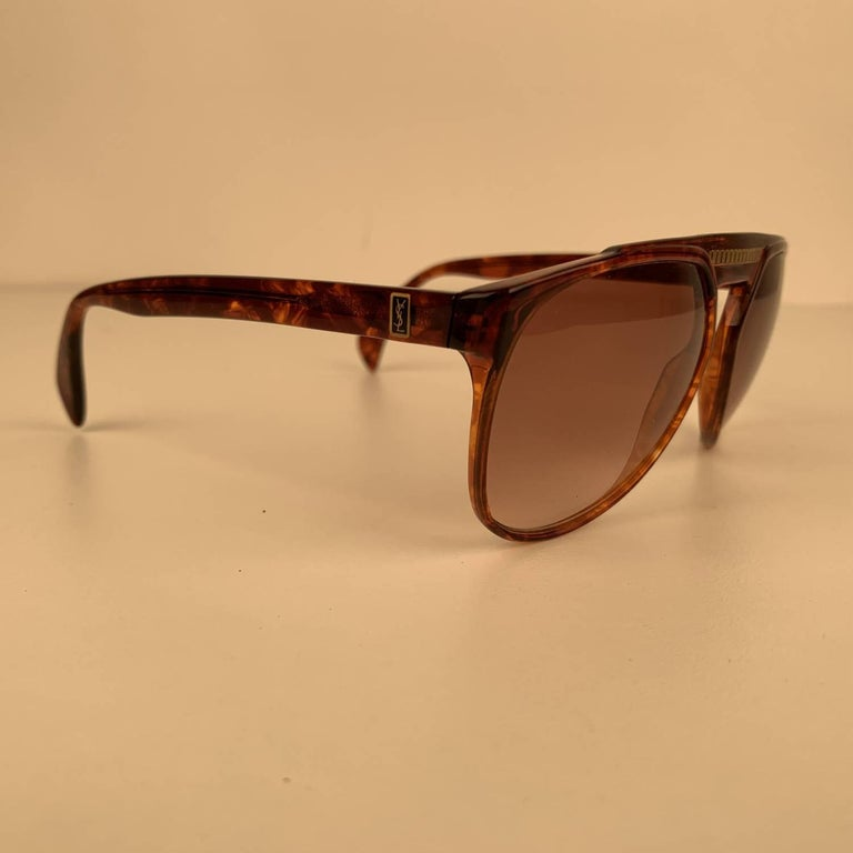 Yves Saint Laurent Vintage 80s Brown Marbled Sunglasses 8726 P094 For Sale 1