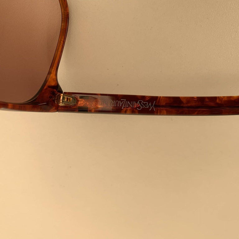 Yves Saint Laurent Vintage 80s Brown Marbled Sunglasses 8726 P094 For Sale 4