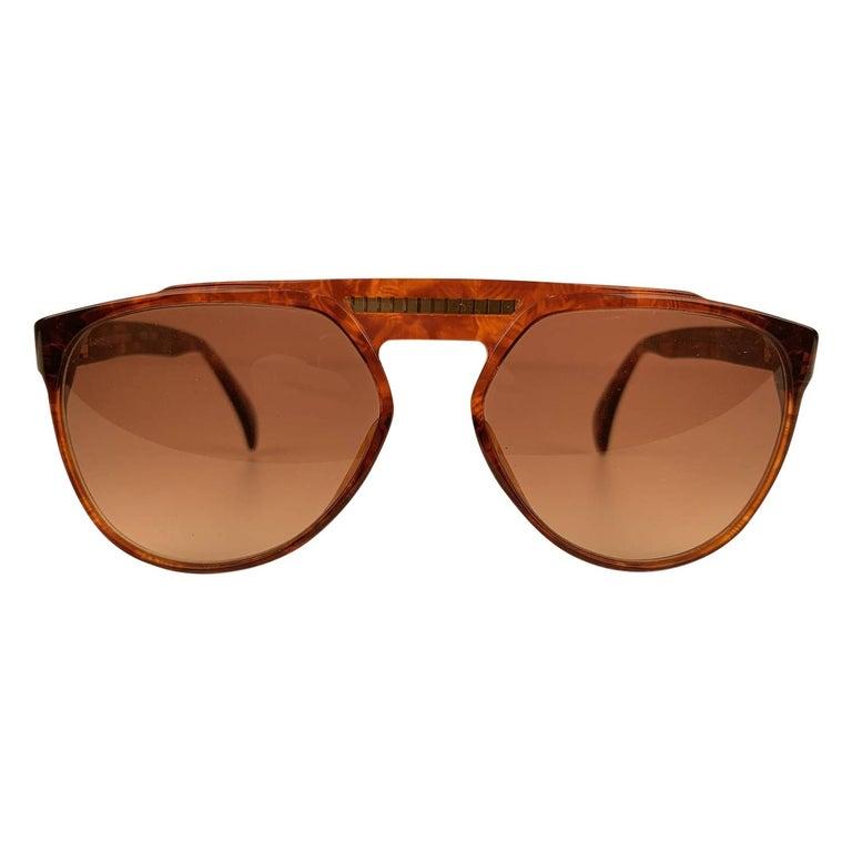Yves Saint Laurent Vintage 80s Brown Marbled Sunglasses 8726 P094 For Sale