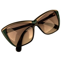 Yves Saint Laurent Vintage Black Green Sunglasses 8706 PO 73