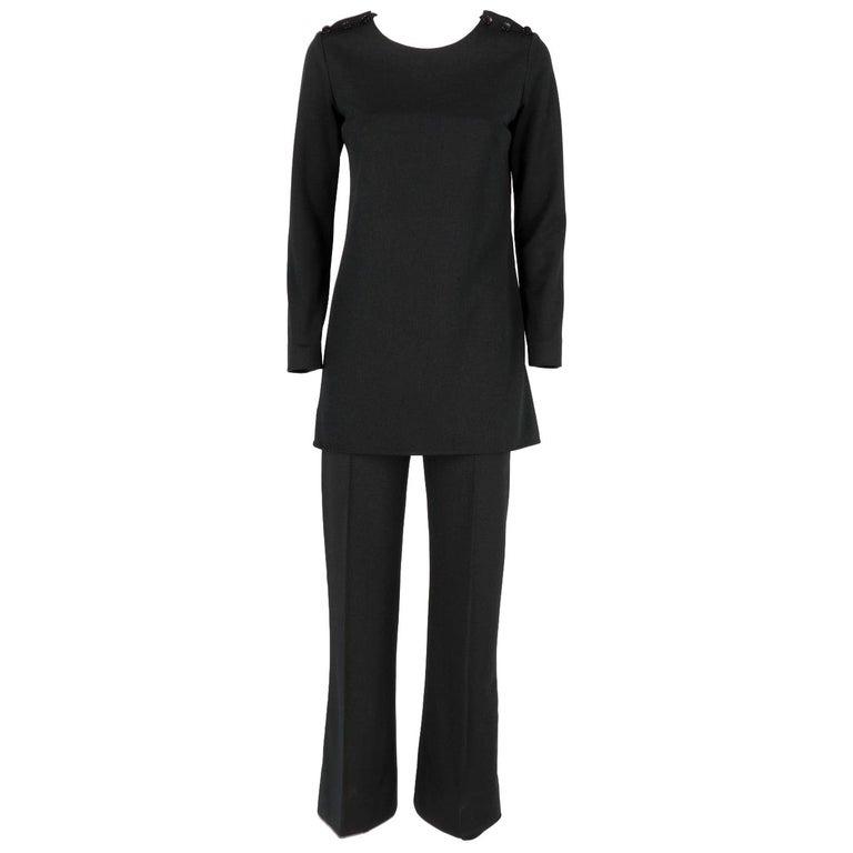 Yves Saint Laurent Vintage Black Suit, 1970s For Sale