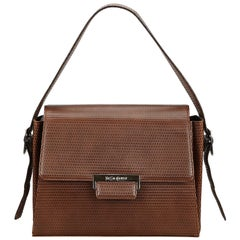 Yves Saint Laurent Vintage Brown Textured Leather Shoulder Bag