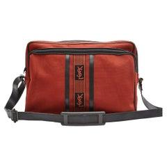 Yves Saint Laurent Vintage Burgundy Tweed Tribal Messenger Book Bag