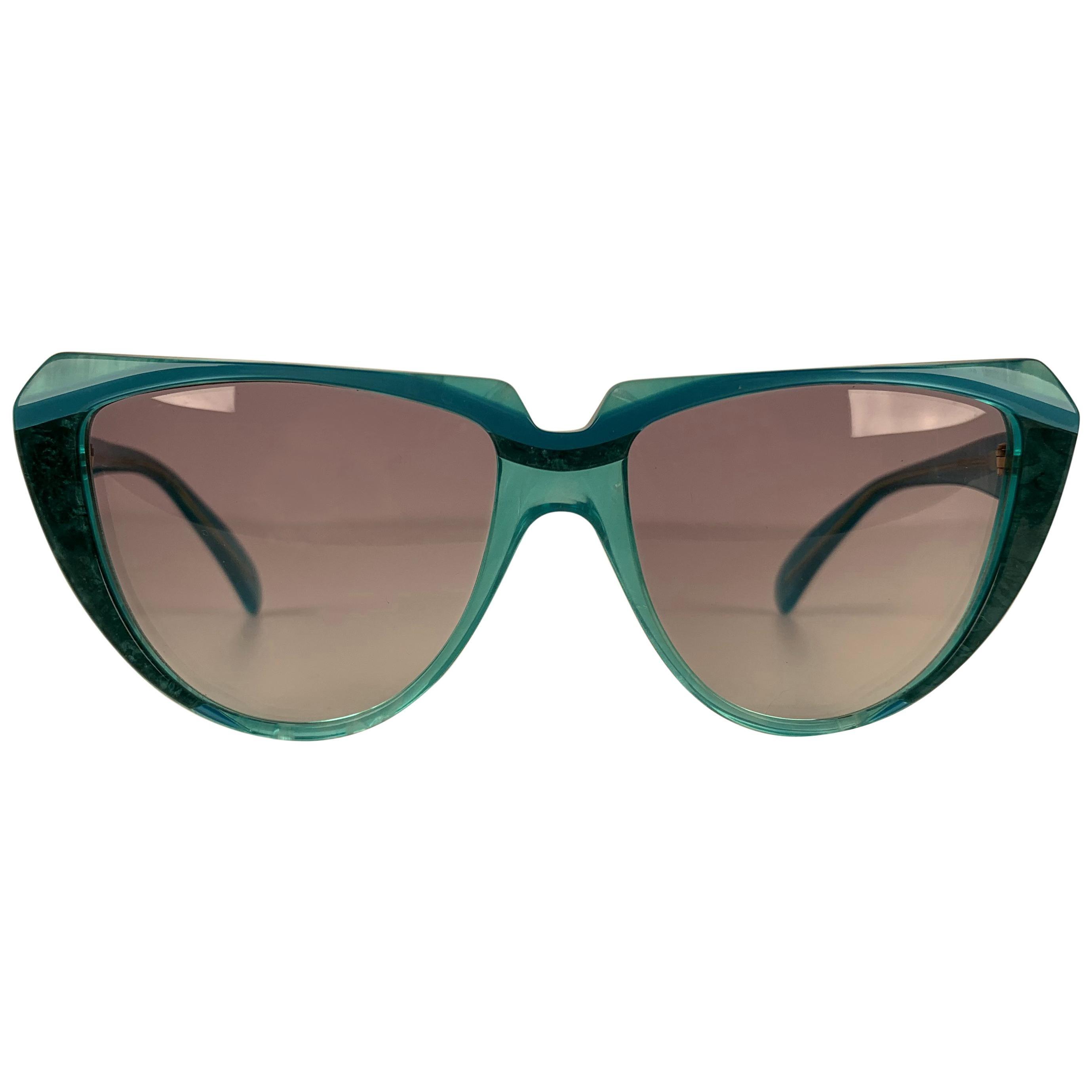 Yves Saint Laurent Vintage Cat Eye Turquoise Sunglasses 8704 P 71