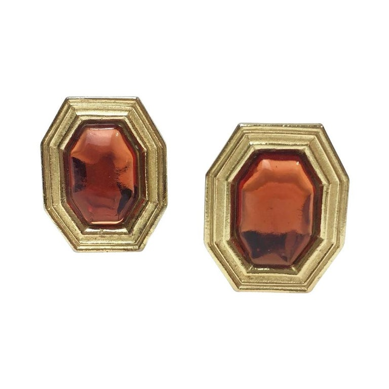 YVES SAINT LAURENT Vintage Clip-on Earrings in Gilt Metal and Orange Resin For Sale