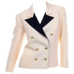 Yves Saint Laurent Vintage Cream Ribbed Wool YSL Blazer Jacket w Black Lapels