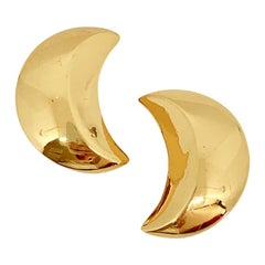 Yves Saint Laurent Vintage Crescent Moon Clip-on Earrings