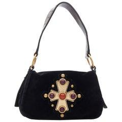 YVES SAINT LAURENT Vintage Crucifix Cross stud black velvet flap shoulder bag