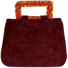 YVES SAINT LAURENT Vintage Handbag in Burgundy Suede Leather