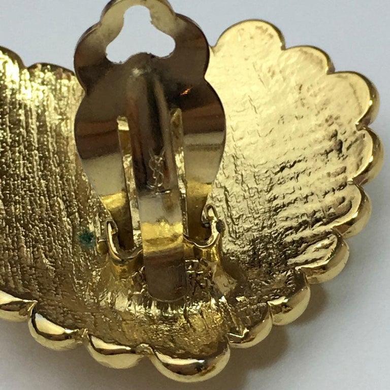 Yves Saint Laurent Vintage Heart Clip Earrings For Sale 2
