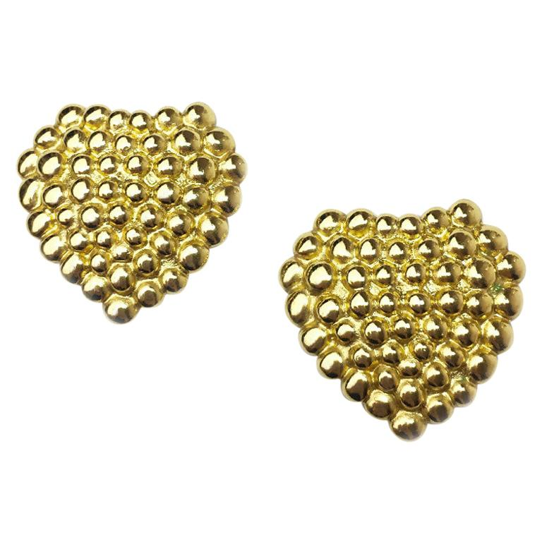 Yves Saint Laurent Vintage Heart Clip Earrings For Sale