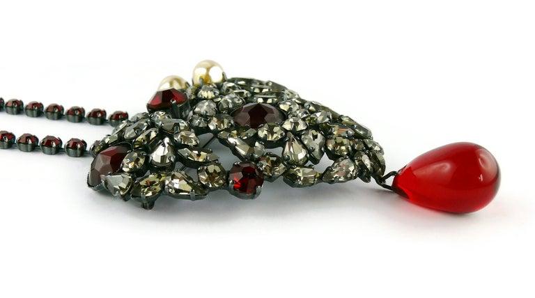 Yves Saint Laurent Vintage Massive Iconic Bejeweled Heart Brooch Necklace For Sale 6