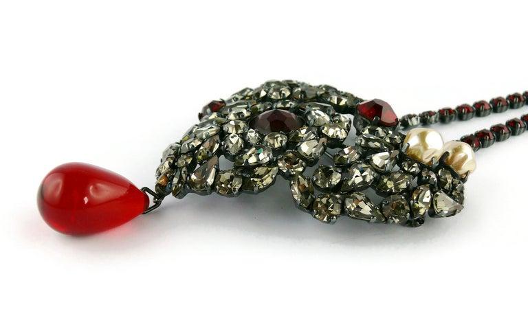 Yves Saint Laurent Vintage Massive Iconic Bejeweled Heart Brooch Necklace For Sale 7