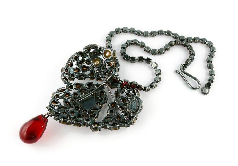 Yves Saint Laurent Vintage Massive Iconic Bejeweled Heart Brooch Necklace For Sale 11