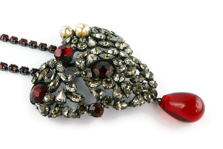 Yves Saint Laurent Vintage Massive Iconic Bejeweled Heart Brooch Necklace For Sale 1