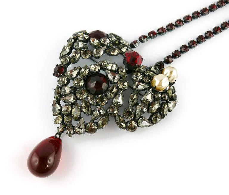 Yves Saint Laurent Vintage Massive Iconic Bejeweled Heart Brooch Necklace For Sale 2