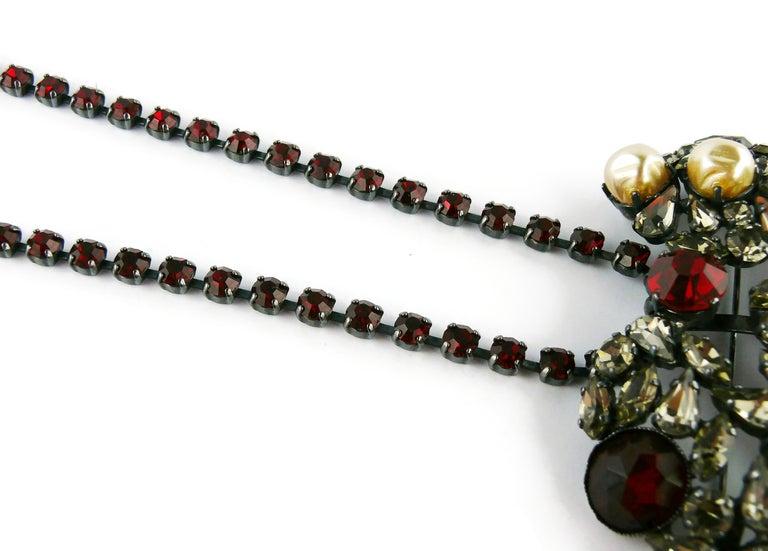 Yves Saint Laurent Vintage Massive Iconic Bejeweled Heart Brooch Necklace For Sale 5