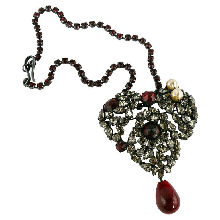 Yves Saint Laurent Vintage Massive Iconic Bejeweled Heart Brooch Necklace For Sale
