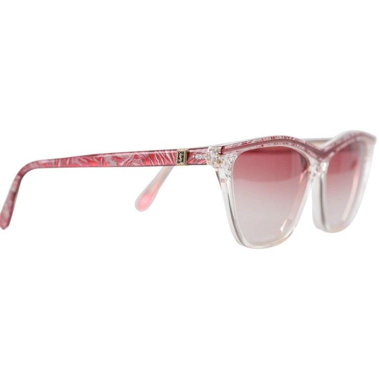 Women's YVES SAINT LAURENT Vintage MINT Sunglasses HYRTHIOS 58mm w/Rhinestones For Sale