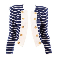 Yves Saint Laurent Vintage Navy & White Stripe Cotton Nautical Style Jacket