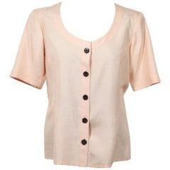 YVES SAINT LAURENT VINTAGE Pink BLOUSE Short Sleeve LIGHT JACKET