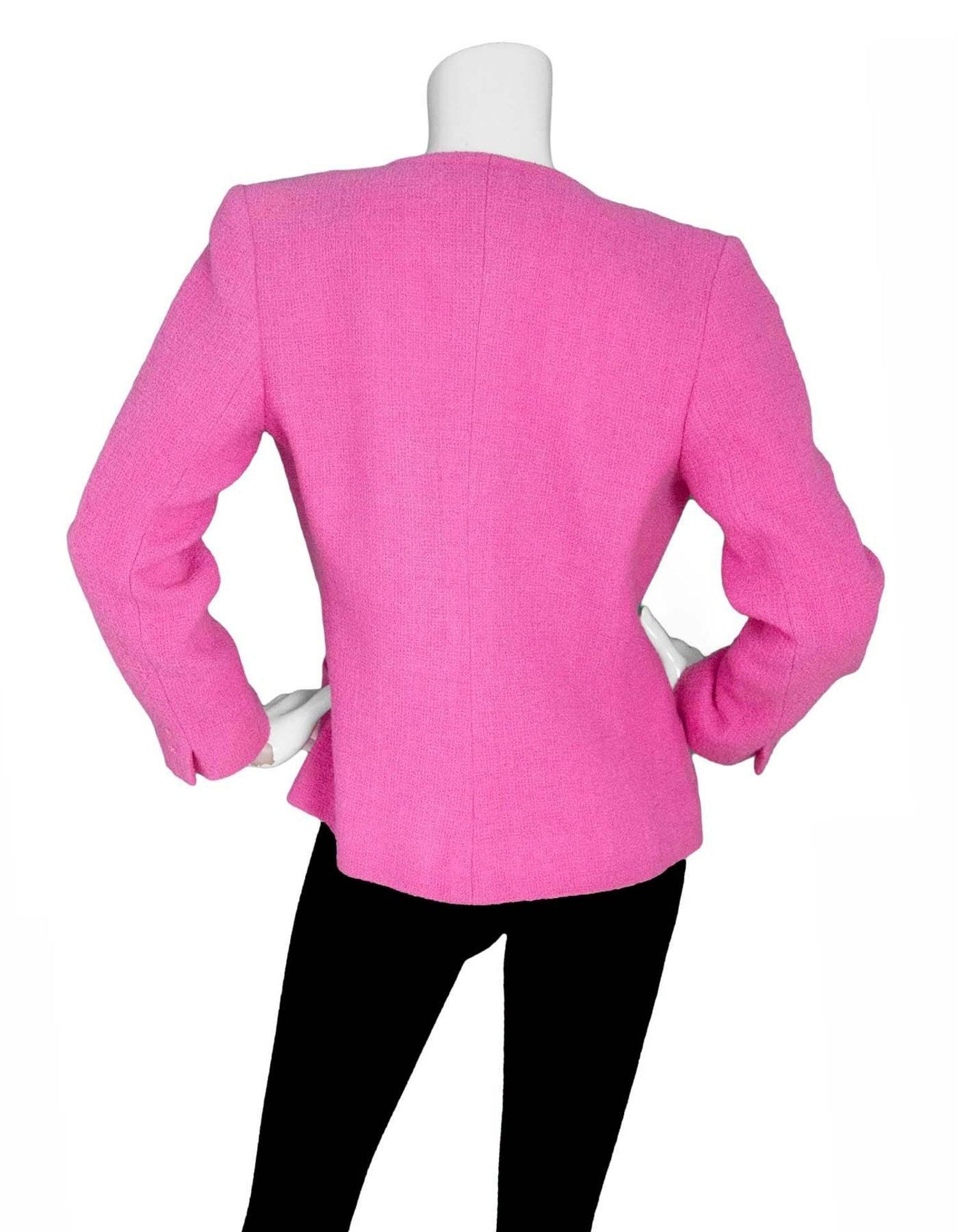 Yves Saint Laurent Vintage Pink Boucle Jackie-O Style Jacket Sz 6