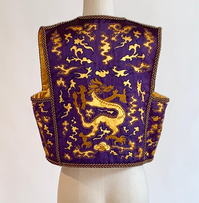 Yves Saint Laurent Vintage Purple and Gold Dragon Print Cropped Vest 1960s 1970s In Excellent Condition For Sale In San Francisco, CA