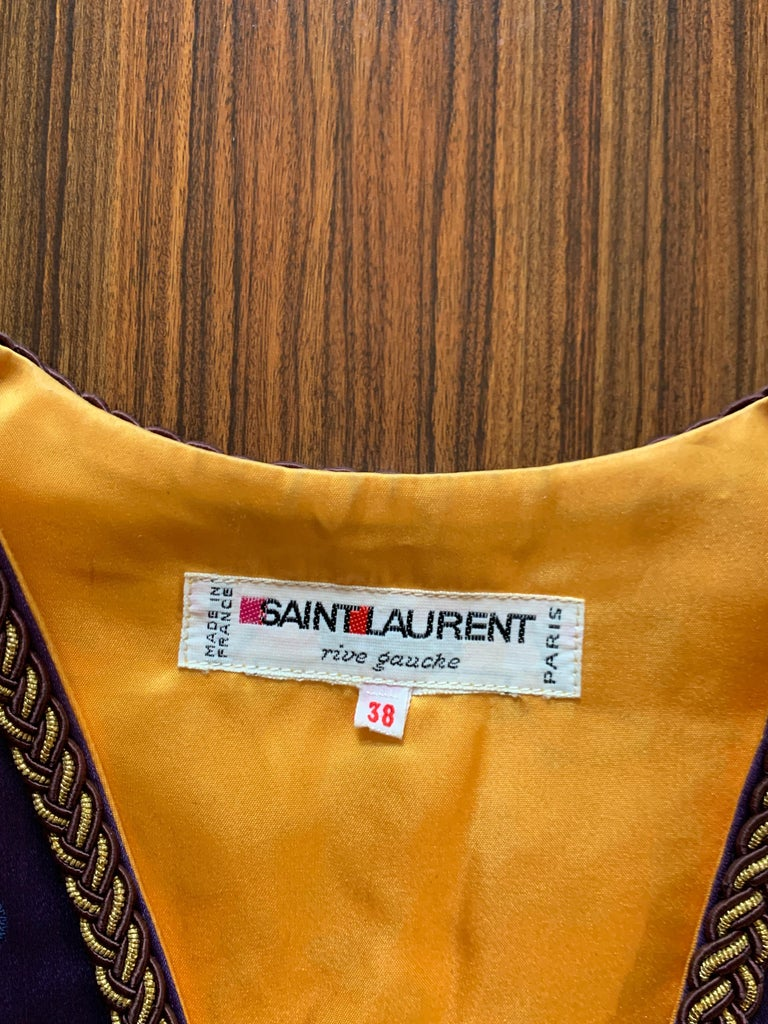 Yves Saint Laurent Vintage Purple and Gold Dragon Print Cropped Vest 1960s 1970s For Sale 1