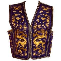 Yves Saint Laurent Vintage Purple and Gold Dragon Print Cropped Vest 1960s 1970s