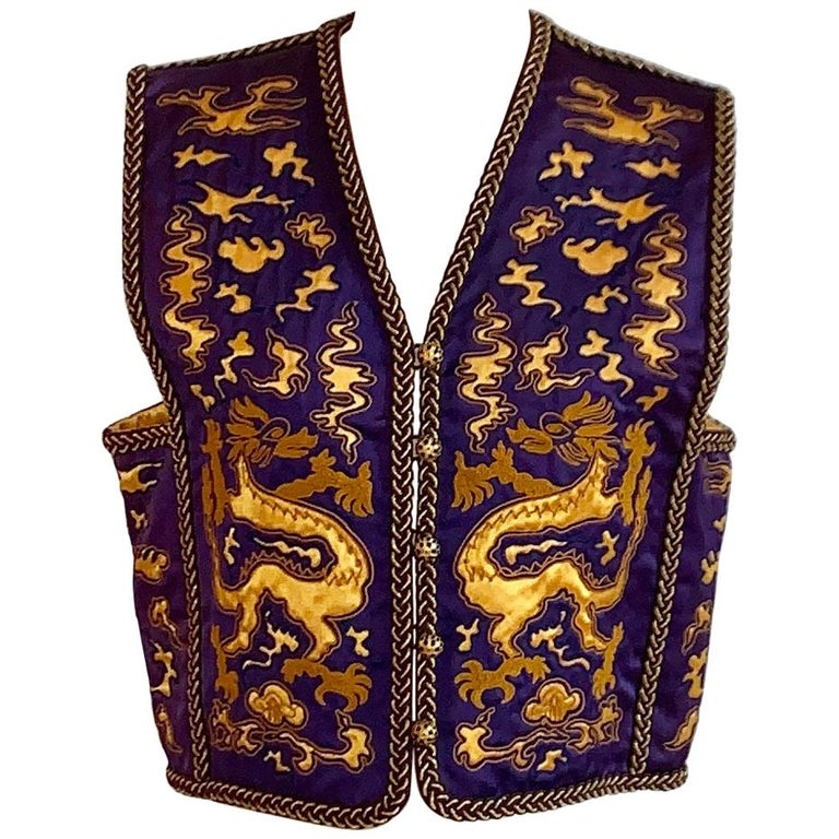 Yves Saint Laurent Vintage Purple and Gold Dragon Print Cropped Vest 1960s 1970s For Sale