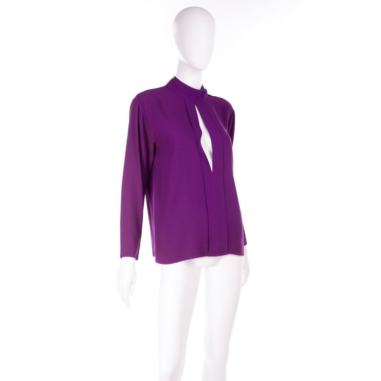 Yves Saint Laurent Vintage Purple Silk Crepe Top With Peek a Boo Cutout In Excellent Condition For Sale In Portland, OR