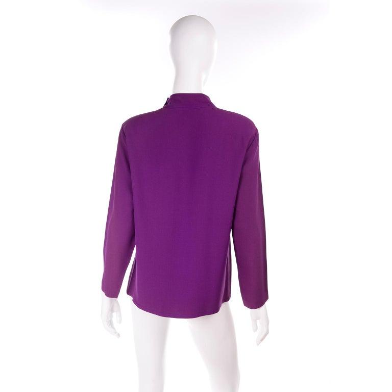 Women's Yves Saint Laurent Vintage Purple Silk Crepe Top With Peek a Boo Cutout For Sale