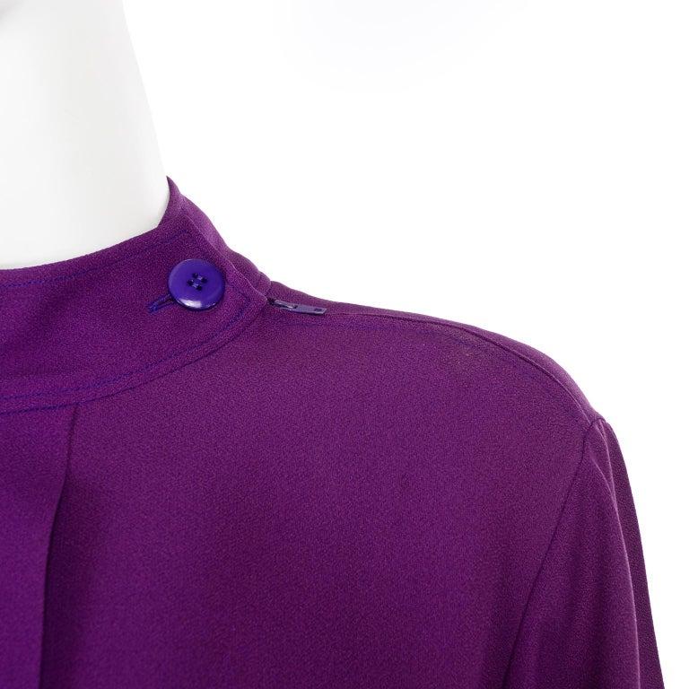 Yves Saint Laurent Vintage Purple Silk Crepe Top With Peek a Boo Cutout For Sale 2