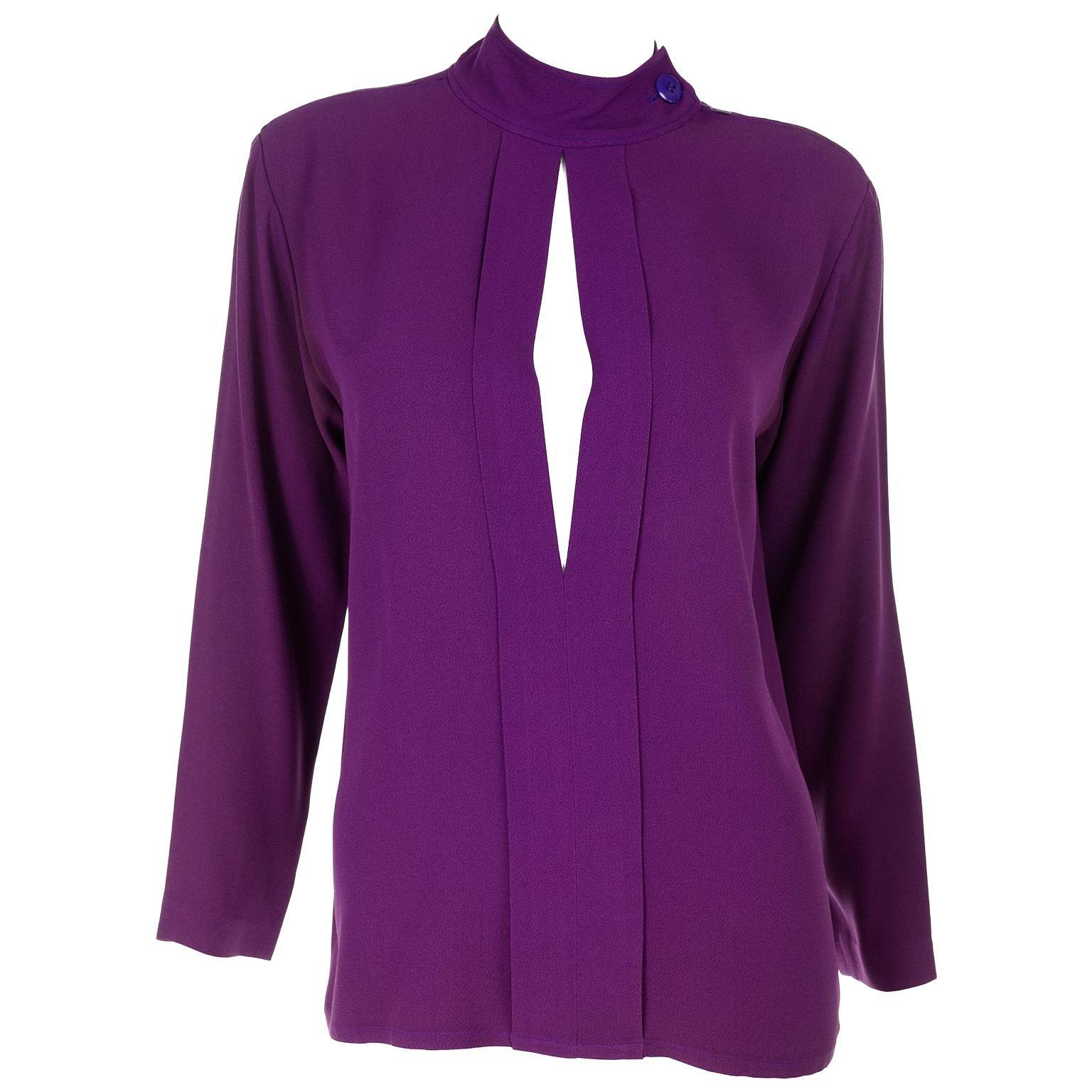 Yves Saint Laurent Vintage Purple Silk Crepe Top With Peek a Boo Cutout