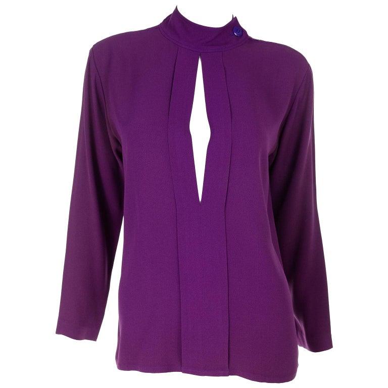 Yves Saint Laurent Vintage Purple Silk Crepe Top With Peek a Boo Cutout For Sale