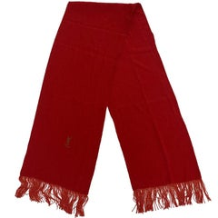 YVES SAINT LAURENT Vintage Scarf in Red Silk with Fringes