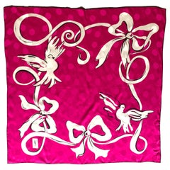 Yves Saint Laurent Vintage Silk Scarf in Fuchsia Pink Dove and Ribbon Print