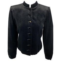 YVES SAINT LAURENT Vintage Size 6 Black Velvet Band Collar Jacket