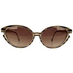 Yves Saint Laurent Vintage Sunglasses 8316 P 42 Striped Gold Glitter