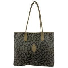 Yves Saint Laurent Vintage Tan Grey Spotted Canvas Tote Shoulder Bag
