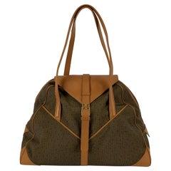 Yves Saint Laurent Vintage Tan Textured Canvas Travel Bag