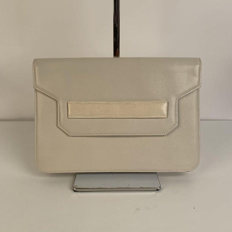 Women's Yves Saint Laurent Vintage White Leather Clutch Bag For Sale