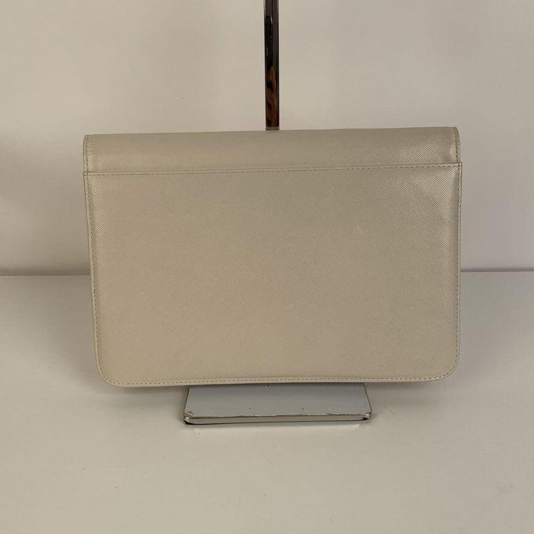 Yves Saint Laurent Vintage White Leather Clutch Bag For Sale 2