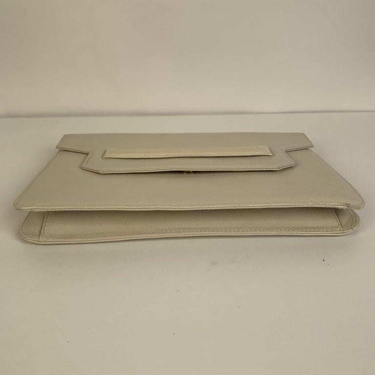 Yves Saint Laurent Vintage White Leather Clutch Bag For Sale 3