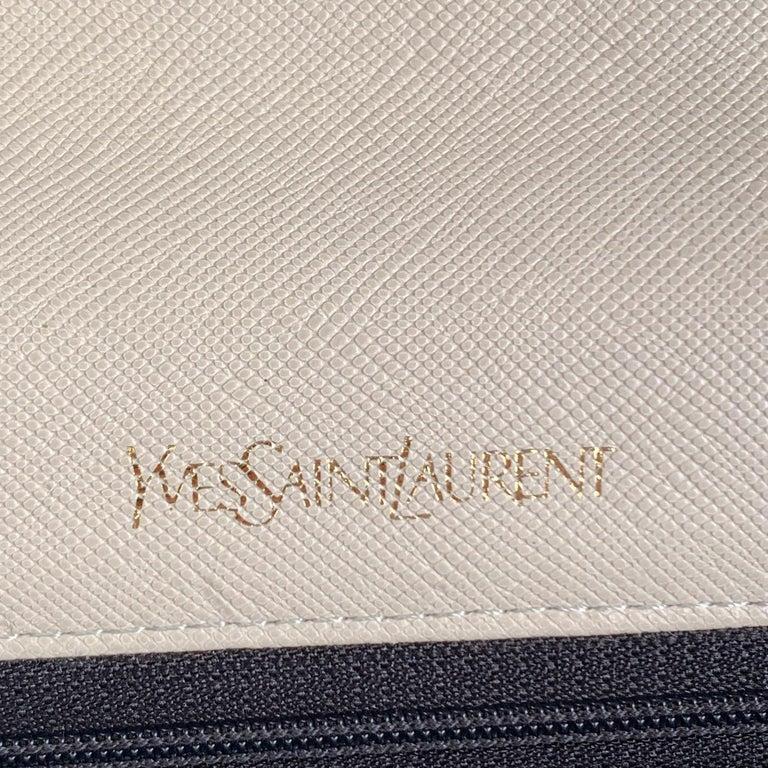 Yves Saint Laurent Vintage White Leather Clutch Bag For Sale 5