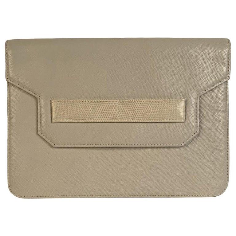 Yves Saint Laurent Vintage White Leather Clutch Bag For Sale