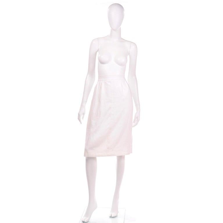 Gray Yves Saint Laurent Vintage White Linen Pencil Skirt For Sale