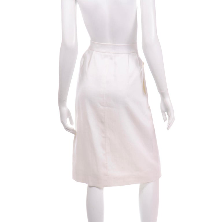 Yves Saint Laurent Vintage White Linen Pencil Skirt In Excellent Condition For Sale In Portland, OR